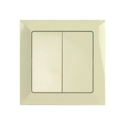 Double two-way switch with frame- beige